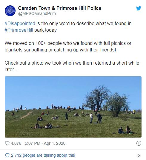 Postagem da polícia de Londres em seu perfil do Twitter
