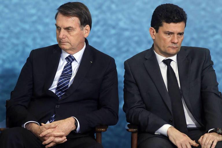 Presidente Jair Bolsonaro (esquerda) e ex-ministro Sérgio Moro (direita) / Imagem via Metrópole